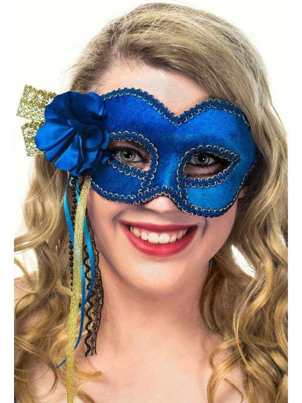 Deluxe Royal Blue Velvet Side Flower Masquerade Mask View