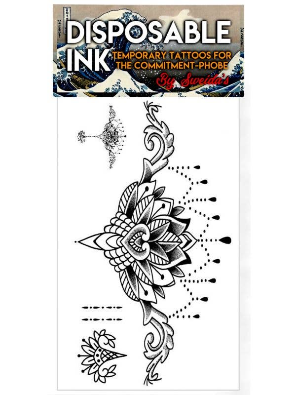 Disposable Ink Floating Lotus Temporary Body Tattoo Costume Accessory Main Image