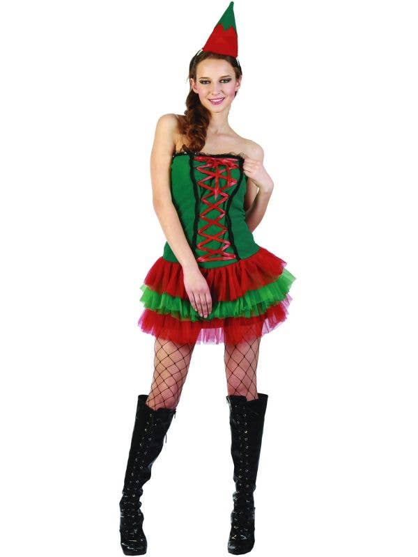 Red and Green Christmas Sexy Elf Women's CHristmas Costumes with Matching Hat - Main Image