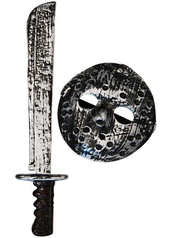 Rustic Silver Jason Voorhees Hockey Mask and Machete Costume Accessory Set