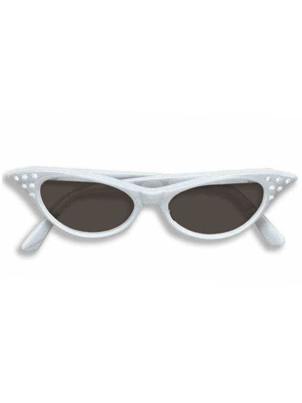 Rock And Roll Black Lens Diamonte Rhinestone White 50s Dress Up Costume Glasses - Main Image