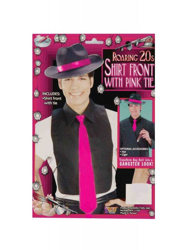 Mens 1920s Gangster Black Shirt Front with Hot Pink Tie - Main Image
