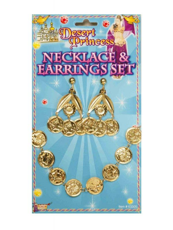 Gypsy Princess Cold Coins Necklace and Earrings Fancy Dress Accessory Set