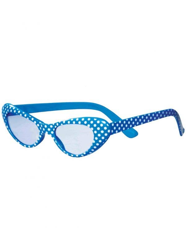 Blue and White Polka Dot 50s Dress Up Costume Accessory Glasses - Main Image