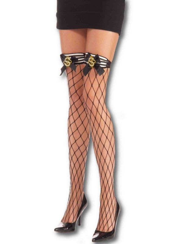 Dollar Sign Thigh High Industrial Fishnet Womens Stockings Main Image