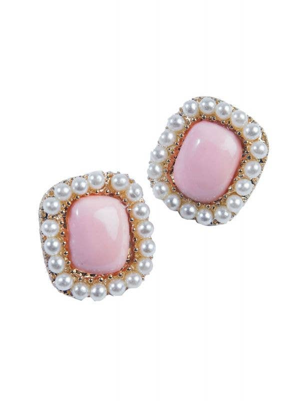 Vintage Pearl And Pink Earrings Costume Accessory Main Image