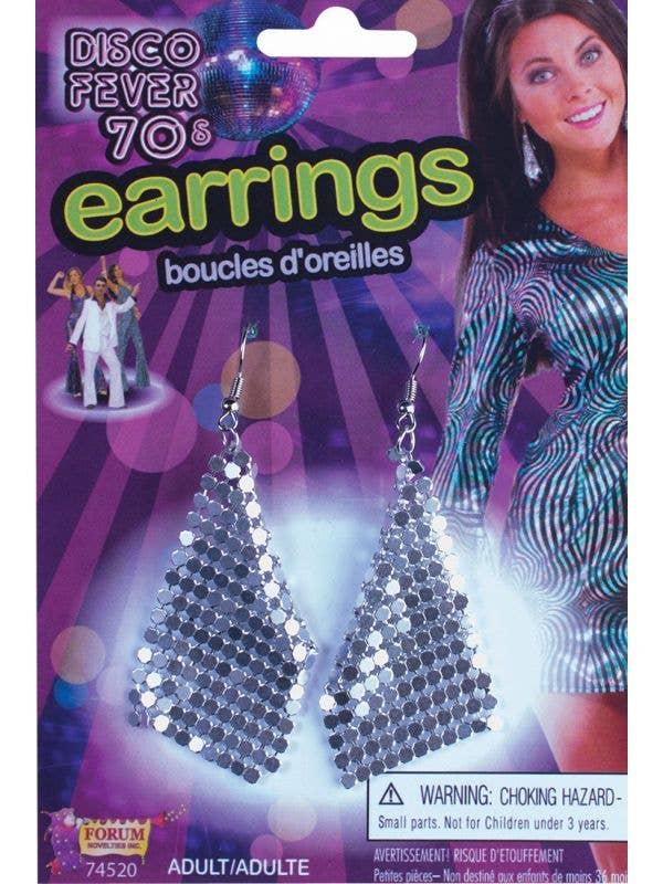 Silver Mesh 1970's Disco Earrings Costume Accessory