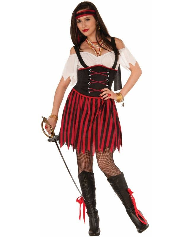 Black and Red Striped Seafarer Women's Pirate Fancy Dress Costume main image