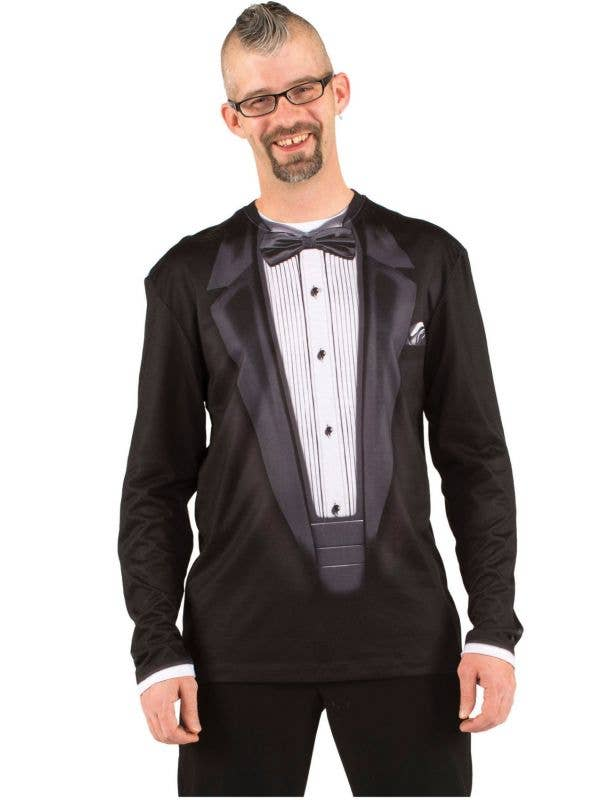 Men's Black Tuxedo Faux Real Printed Costume T-Shirt View 1