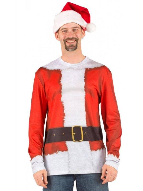 Men's Faux Real Santa Print Costume Top Front