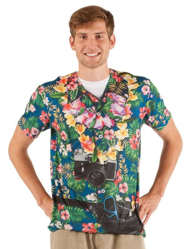 Men's Funny Tourist Printed Faux Real Costume Shirt Front Image