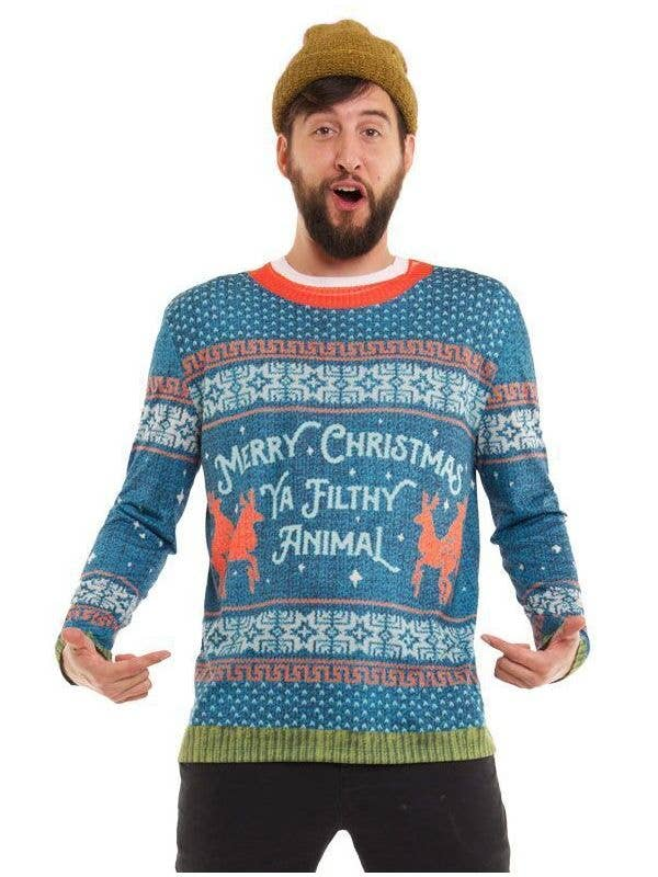 33e84581e4d Men s Funny Faux Real Blue Ugly Christmas Jumper Costume Front
