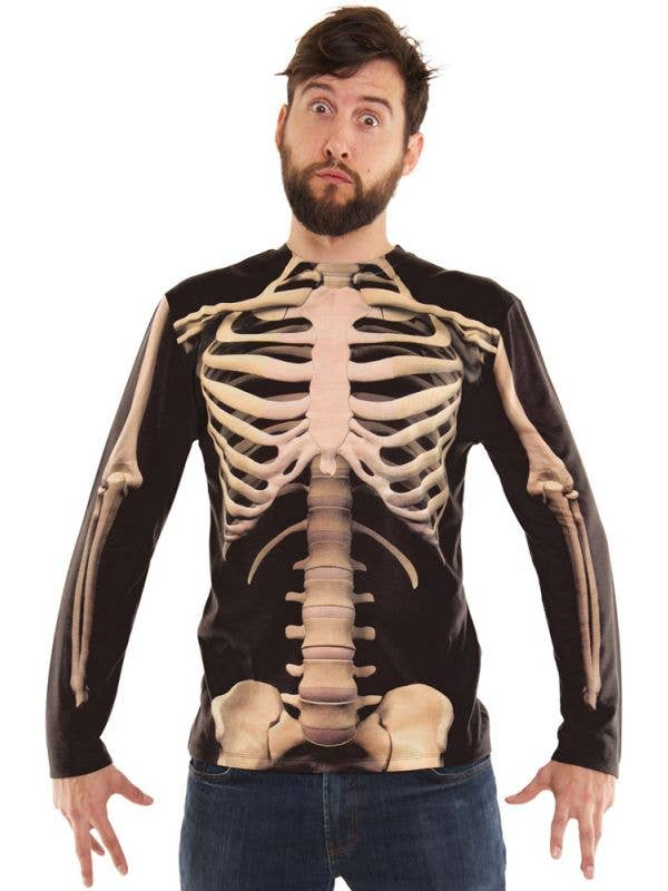 Men's Skeleton Print Long Sleeve Halloween Costume Shirt Front Image