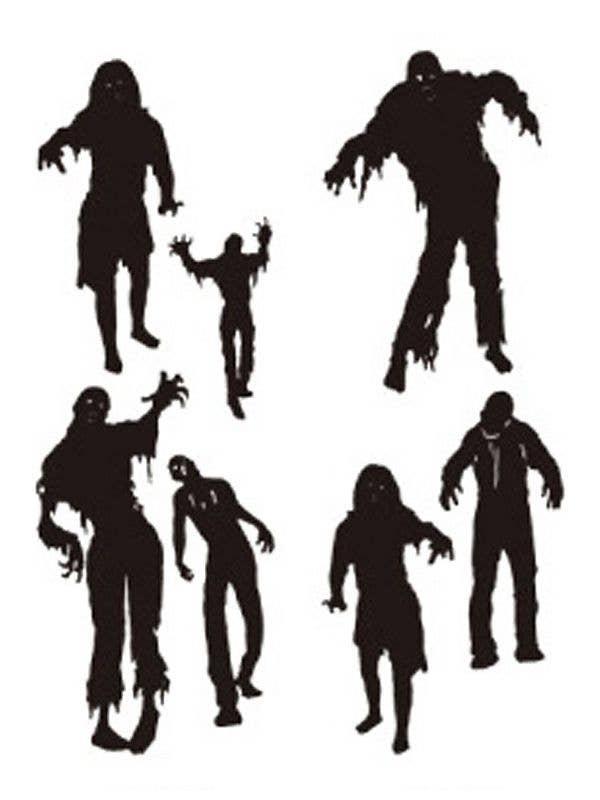 Black Stick On Zombie Wall Art | Zombie Halloween Wall Decorations