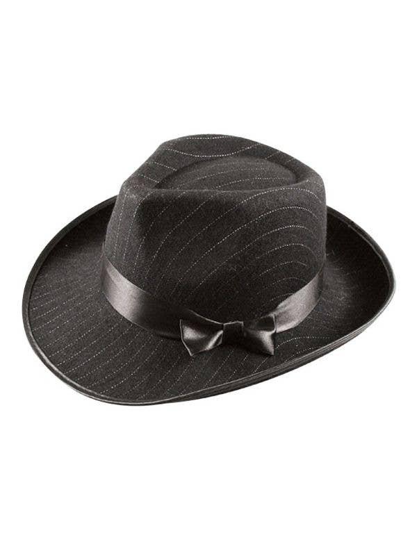 7eb9ab454df 1920's Black Fedora Hat | Pin Stripe Black Gangster Costume Hat