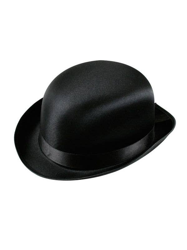 1b1058a8a5a90 Black Satin Bowler Costume Hat