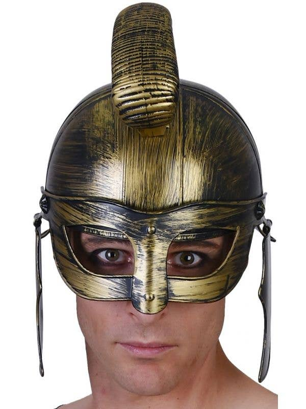 Antique Gold Gladiator Helmet Costume Accessory For Adult's Main Image