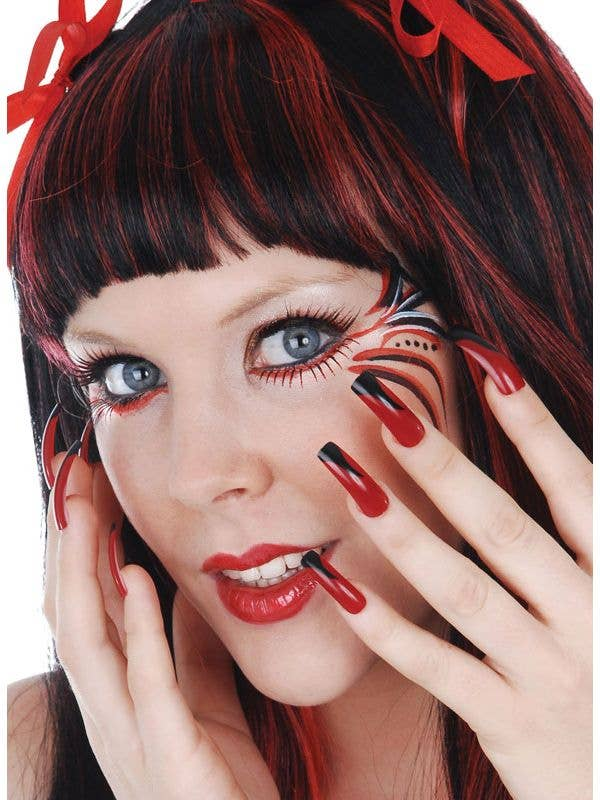 Long Black and Red Fake Nails | Stick On Nails Halloween ...