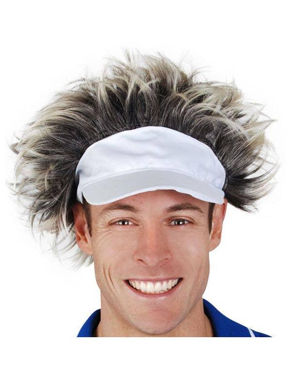 White Tennis Visor with Hair  d3aee5f18b5