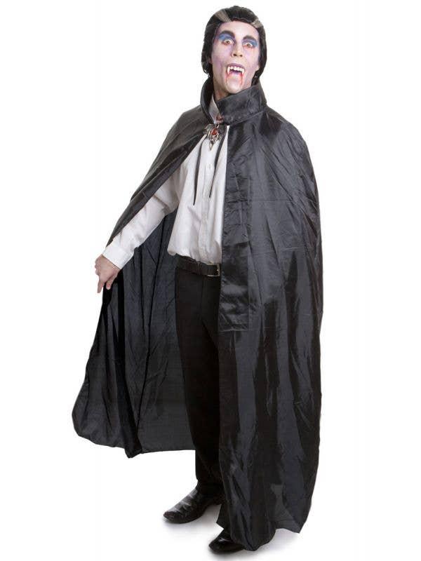 Adult's Black Vampire Halloween Cape with Collar
