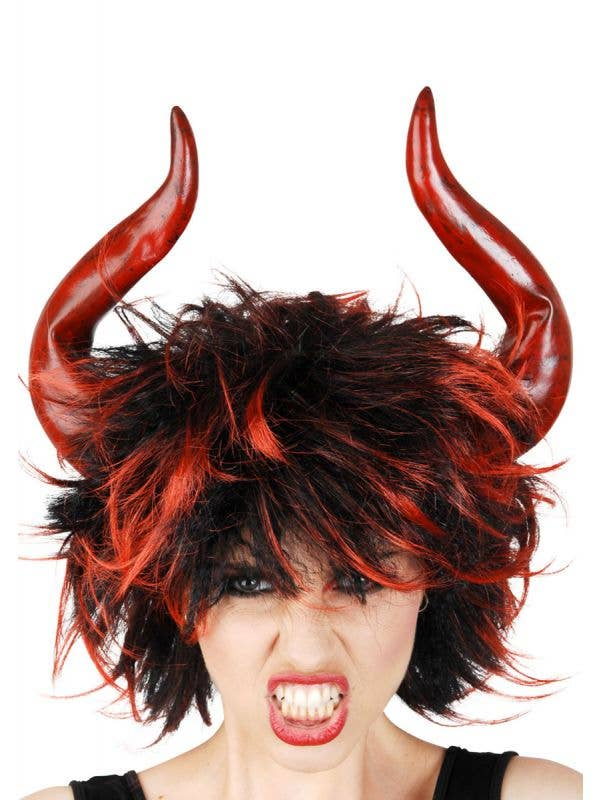Women's Red And Black Devil Wig With Horns