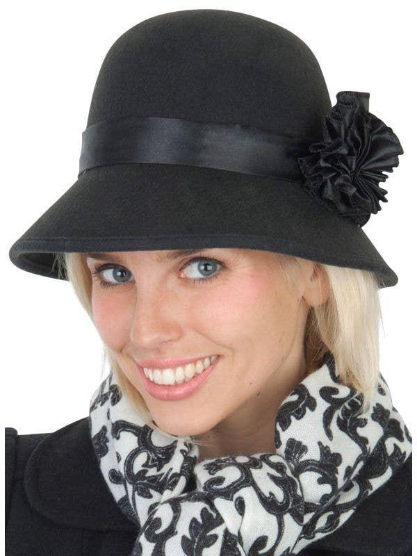 e595e6f6b36a8e Vintage Black 1920's Hat | Roaring 20's Black Cloche Costume Hat
