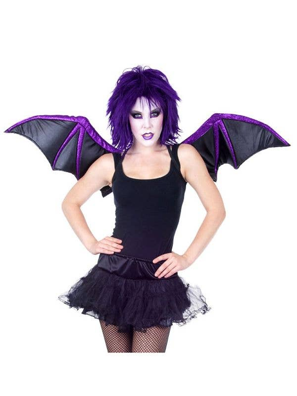 black and purple bat wings gothic bat halloween costume wings