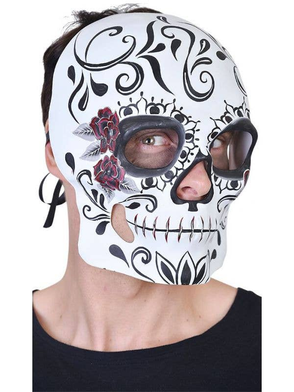 Black and White Mens Day of the Dead Sugar Skull Face Mask with Roses Main Image