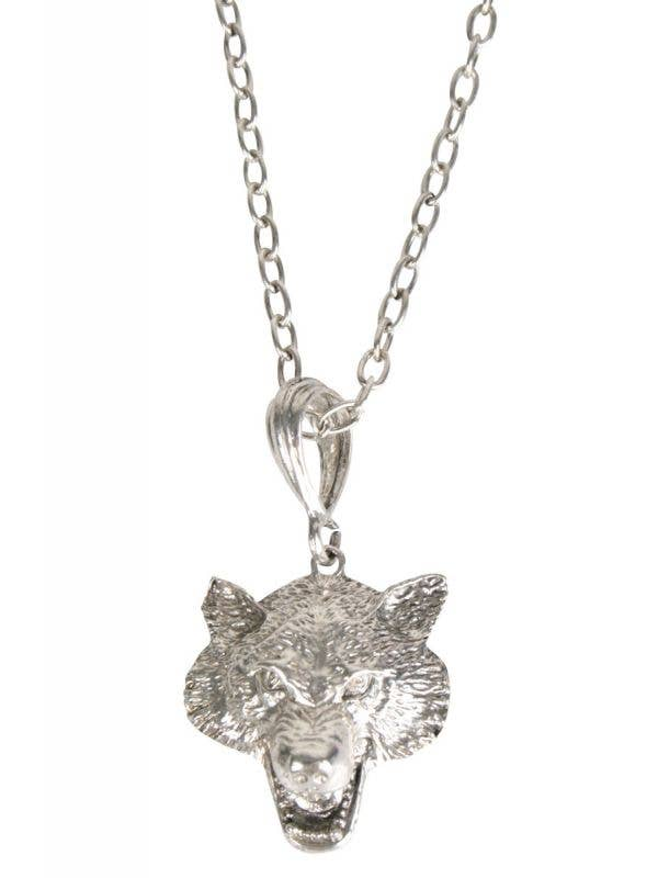 Silver Wolf Head Pendant on a Chain Costume Necklace