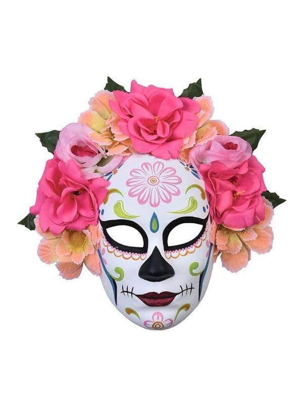 Full Face White Day of the Dead Mask with Peach Pink And Purple Flowers