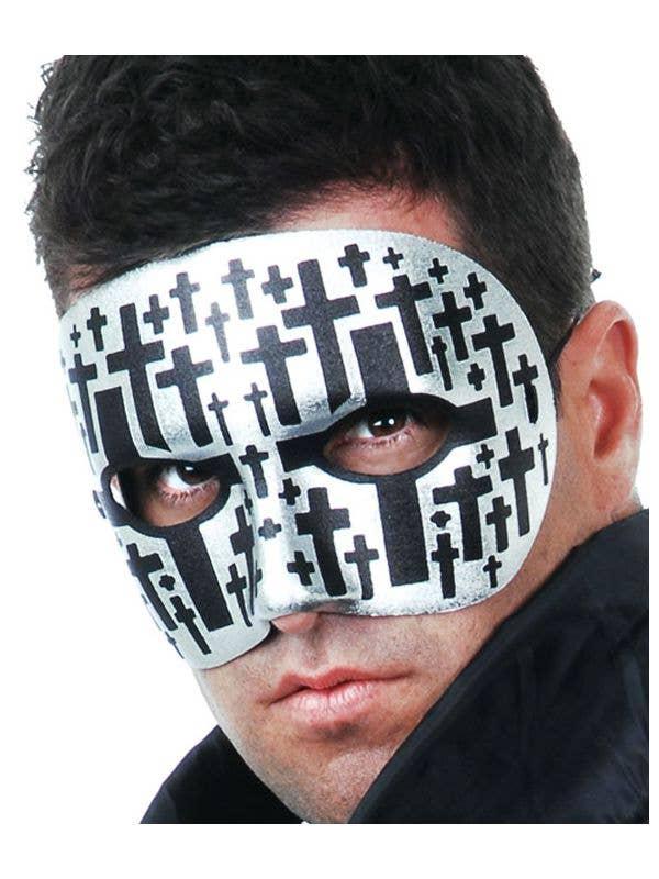 Men's Basic Silver Masquerade Mask With Black Crosses Main
