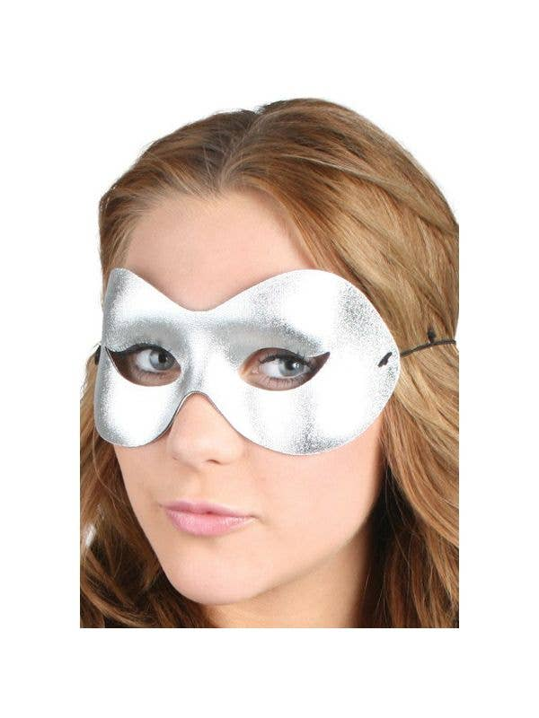 silver cat eye masquerade mask for women - Main Image