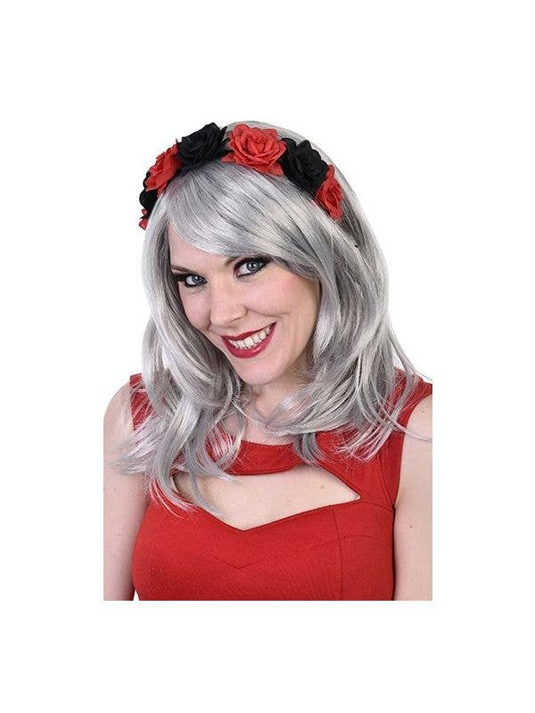 Red and Black Flower Gothic Rose Headband Day Of The Dead Hair Accessory