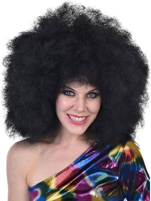 1970's Women's Mega Huge Curly Black Afro Wig Costume Accessory Main Image