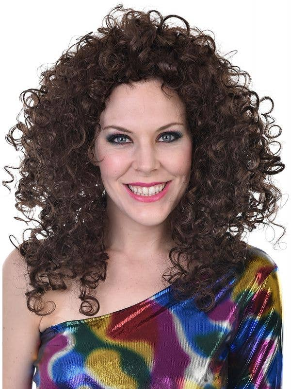 70s Disco Diva Women's Curly Brown Costume Wig - Main Image