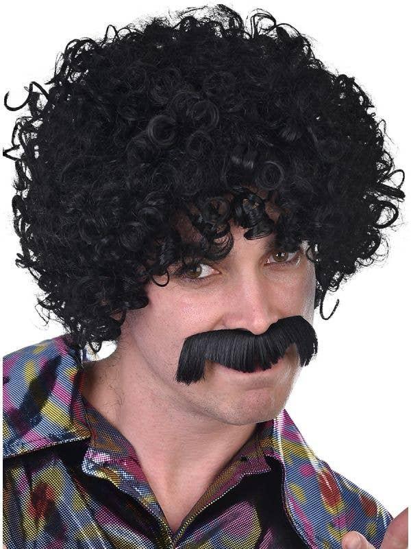 Men's 1970's Black Afro Wig and Moustache Costume Accessory Set Main Image