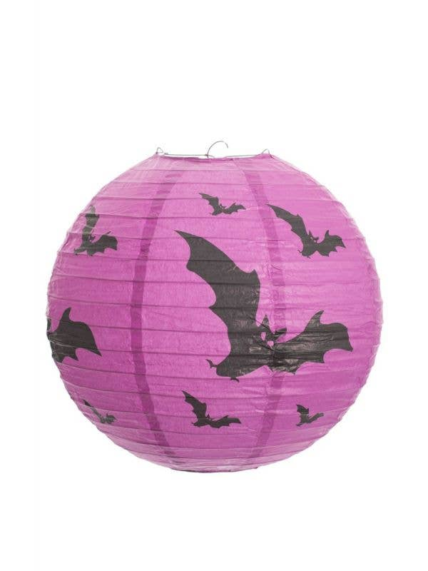 Purple Paper Bat Print Lantern Halloween Decoration Main Image