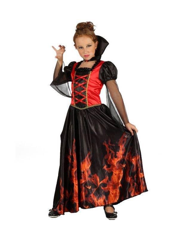 Girls Red and Black Vampiress Halloween Fancy Dress Costume
