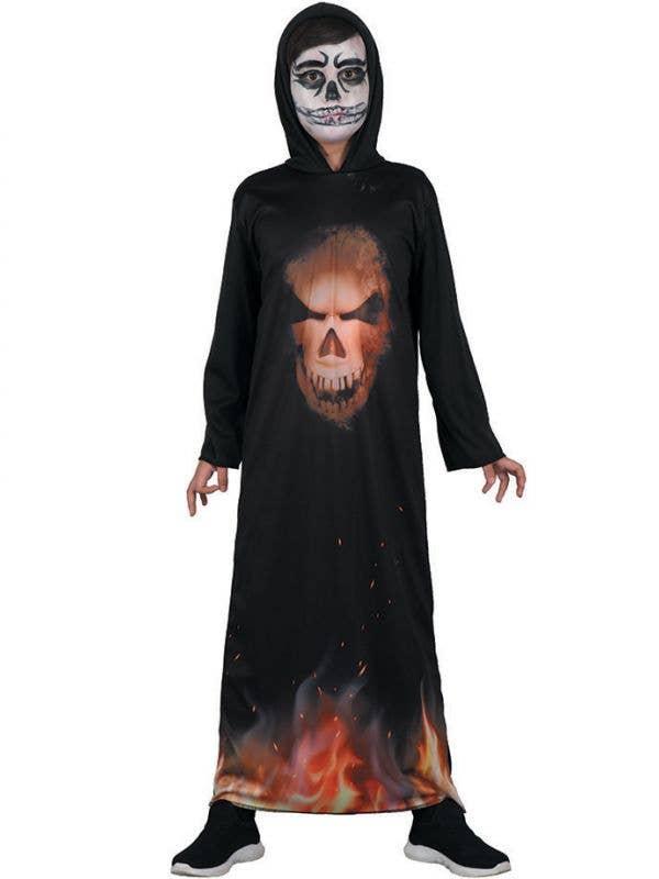 Boys Devil Demon Face Halloween Hooded Robe Costume