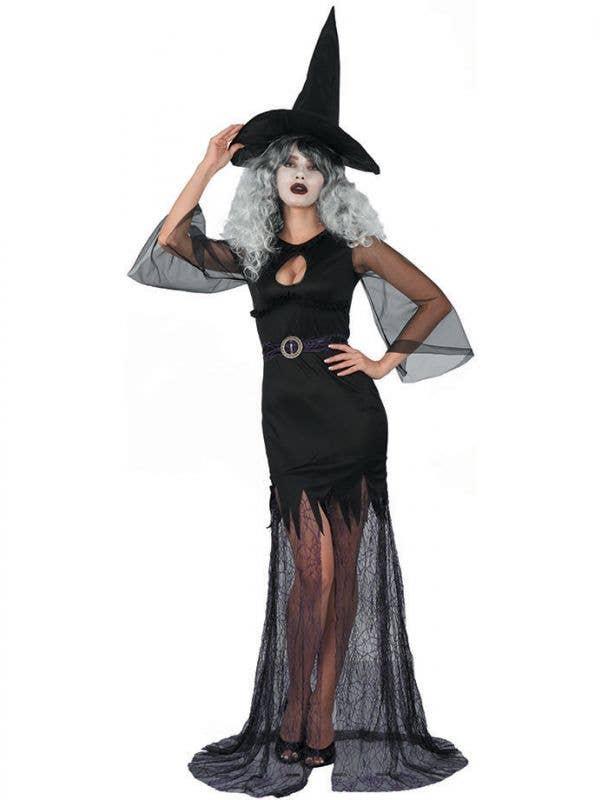 Women's Sexy Black Witch Halloween Fancy Dress Costume