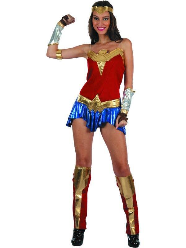 Wonder Woman Inspired Women's American Heroine Fancy Dress Costume Main Image