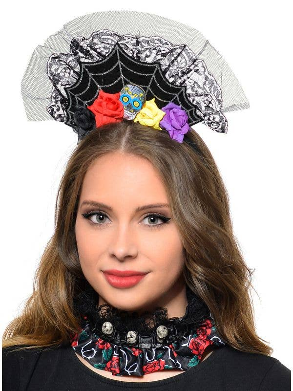 Day of the Dead spiderweb flowers sugar skull crown tiara headband costume accessory main image