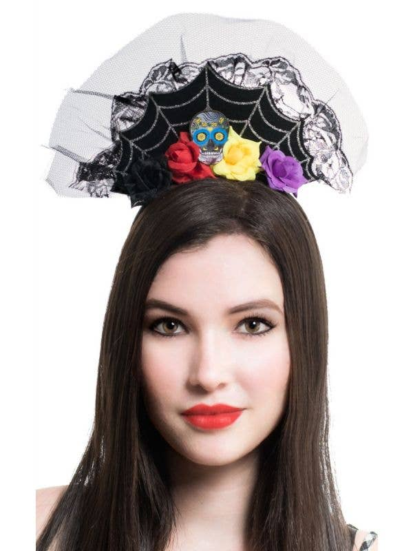 Day of the Dead spiderweb flowers sugar skull crown tiara headband costume accessory main image