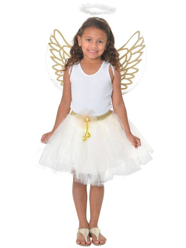 Gold and White Girls Christmas Angel Costume Set with Tutu, Wings and Halo