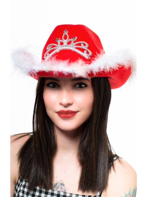 Red And White Women's Cowboy Hat With Attached Silver Tiara With Diamantes And Light Up Feature Main Image