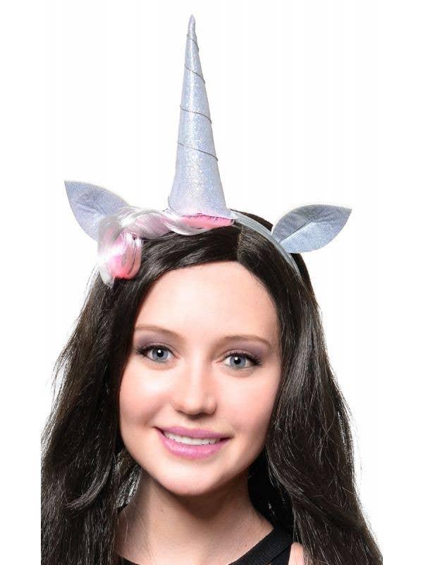 Silver Holographic Unicorn Costume Headband Accessory Set - Alternative Image
