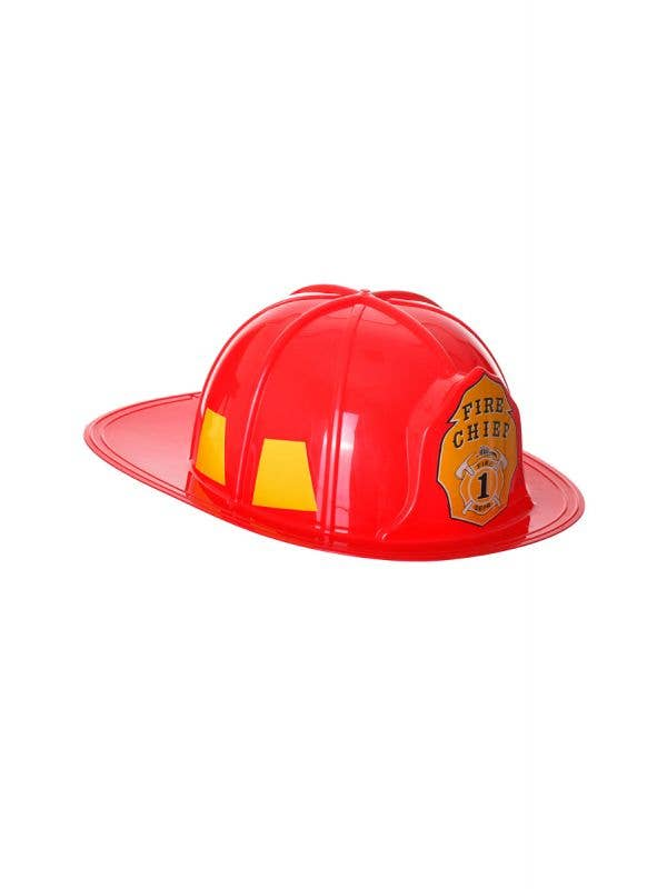 Budget Firefighter Red Plastic Fire Chief Adult's Helmet Hat Main Image