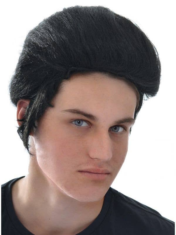Men's Black Elvis King Pompadour Costume Wig Image