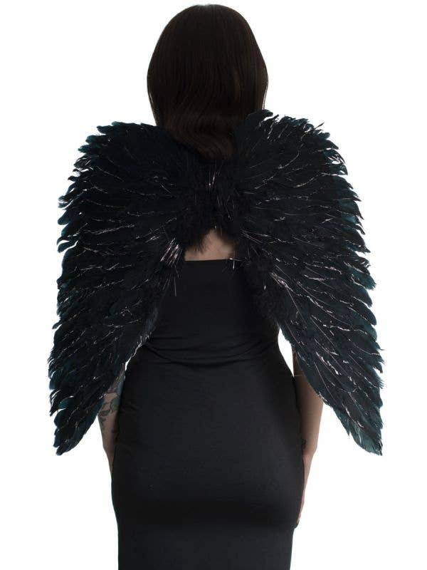 Black and Silver Feather Costume Accessory Wings Main Image