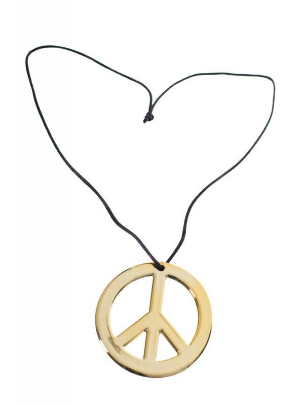 Hippie's 70's & 60's Gold Unisex Peace Sign Costume Necklace - Front View